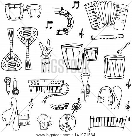 Doodle of music theme stock collection vector illustration