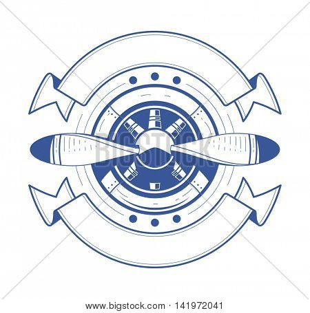 Airplane propeller with ribbons vector illustration isolated on white background aviation symbol