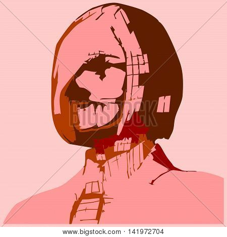 Zombie business woman portrait. Vector illustration in pop art style. Suit and tie