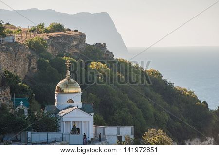Balaclava St. George Monastery and landscape sunny day