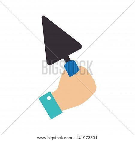 trowell spatula hand grab builder construction builder tool vector graphic isolated and flat illustration