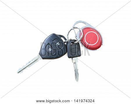 Key chain Car isolated on white background and have clipping paths.