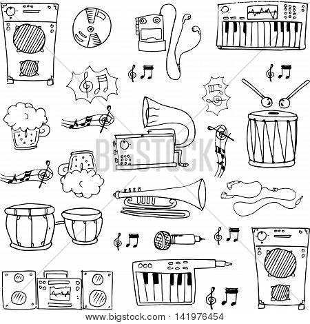 Hand draw music stock doodles vector stock