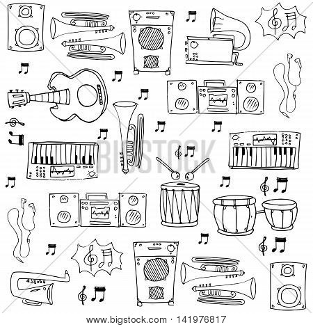 Doodle of object music theme stock collection