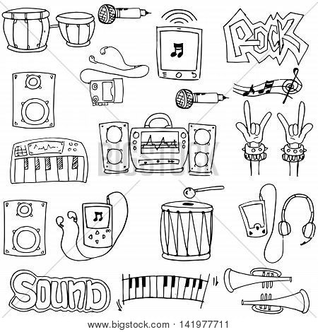 Element music theme doodles stock vector collection
