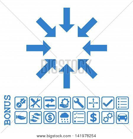 Collapse Arrows icon with bonus pictograms. Vector style is flat iconic symbol, cobalt color, white background. Bonus style is square rounded frames with symbols inside.