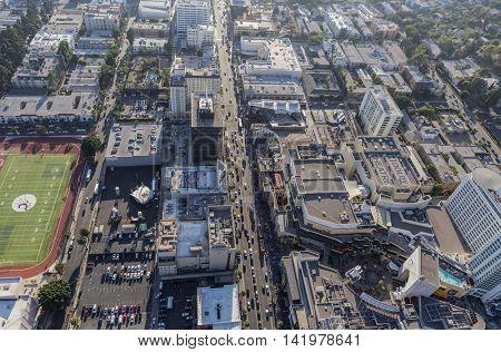 Los Angeles, California, USA - August 6, 2016:  Aerial view of Hollywood Blvd near Highland Av in Hollywood, California.