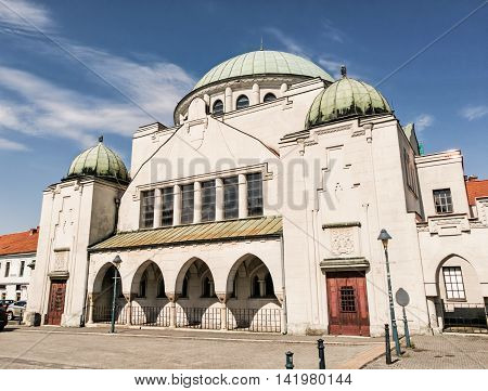 Synagogue in Trencin Slovak republic. Architectural theme. Place for worship. Religious architecture.