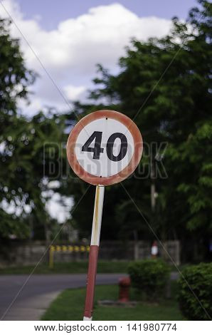 Speed limit kilometer per hour road sign.