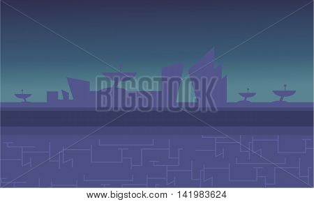 Blue backgrounds alien spacecraft for game vector illustration