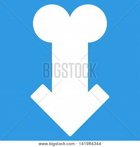 Male Sexual Disfunction vector icon. Style is flat symbol, white color, rounded angles, blue background.