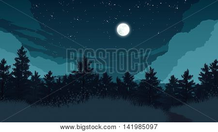 forest landscape flat color illustration at night time