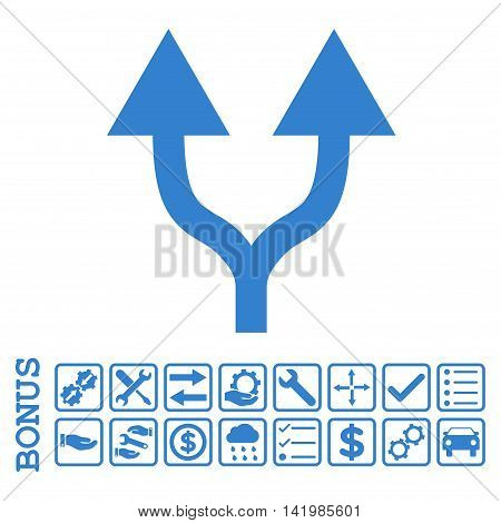 Split Arrows Up icon with bonus pictograms. Vector style is flat iconic symbol, cobalt color, white background. Bonus style is square rounded frames with symbols inside.