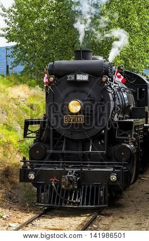 Photo of running steam train on sunny summer day