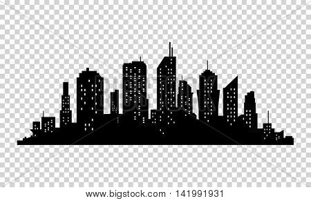 City icon. Vector town Silhouette illustration. Skylines. Skyscraper