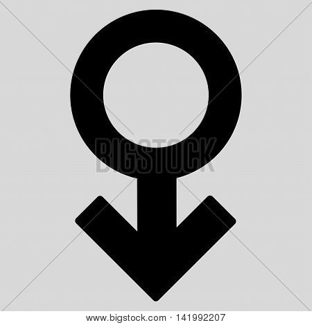 Impotence Symbol vector icon. Style is flat symbol, black color, rounded angles, light gray background.