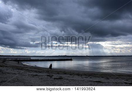 Botany Bay on a stormy day. View from Bonna Point (Kurnell, Sydney, Australia) poster