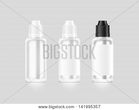 Blank white vape liquid bottle mockup isolated clipping path 3d illustration. Clear vapor juice flacon mock up template. Vaporizer dropper flavor vial presentation. E-cigarette aroma liquid design.