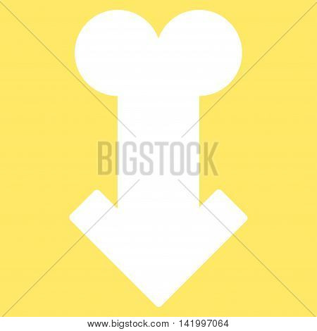 Male Sexual Disfunction vector icon. Style is flat symbol, white color, rounded angles, yellow background.