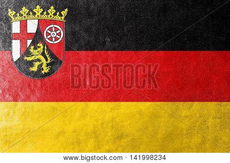 Flag Of Rhineland-palatinate, Germany, Painted On Leather Texture