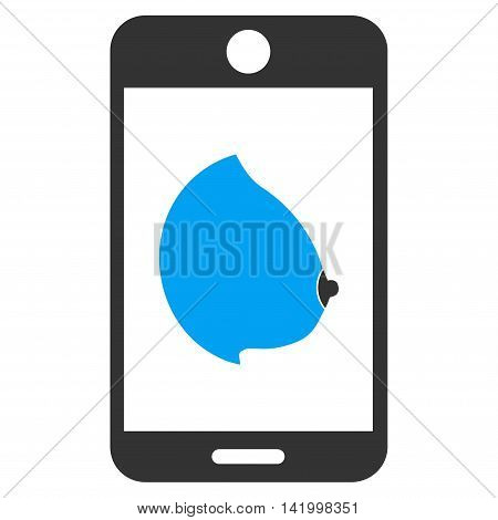 Mobile Erotic Tit vector icon. Style is bicolor flat symbol, blue and gray colors, rounded angles, white background. poster