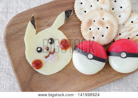 Gold coast Australia 10 August 2016 Editorial imagePokemon inspired crackers and cheese snack for kids