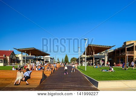 Adelaide Australia - February 7 2016: People relaxing and waiting for the sunset at newly redeveloped Henley Square