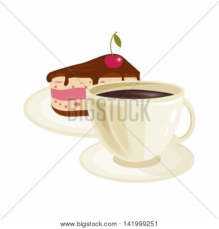 Cream cherry cake and coffee cup. Brown breakfast tasty cafe drink coffee cup with chocolate delicious cake. Pastry morning coffee cup with cake plate espresso gourmet hot fresh beverage vector.