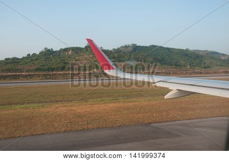 view from window airplane in runway, Thailand
