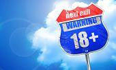 18 plus sign, 3D rendering, blue street sign poster