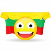 Emoji fan holds in hands flag behind his head. Lithuanian flag. Fan cares for his country. Glory spectator bawl emotion. Exult emoticon. Buff of sports games smile vector illustration. poster