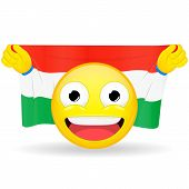 Emoji fan holds in hands flag behind his head. Hungarian flag. Fan cares for his country. Glory spectator bawl emotion. Exult emoticon. Buff of sports games smile vector illustration. poster