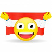 Emoji fan holds in hands flag behind his head. Austrian flag. Fan cares for his country. Glory spectator bawl emotion. Exult emoticon. Buff of sports games smile vector illustration. poster