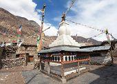 Stupa in Manang villlage round Annapurna circuit trekking trail Nepal poster