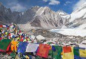 View from Mount Everest base camp tents and prayer flags sagarmatha national park trek to Everest base camp - Nepal poster