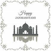 Krishna Janmashtami background in vector. Greeting card for Krishna birthday. Illustration of India community festival Krishna Janmashtami. poster