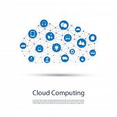 Cloud Computing, IoT, IIoT, Networking, Future Technology Concept Background, Creative Design Template with Icons - Illustration in Editable Vector Format poster