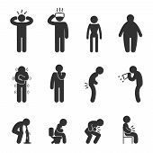 Symptoms of people disease icons. Sick and ill, flu and cold. Vector pictograms poster