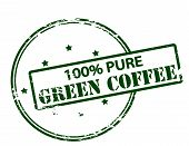 Rubber stamp with text one hundred percent pure green coffee inside vector illustration poster