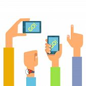 Vector flat illustration of set phones in the hands. Concept of design playing video game poster