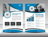Blue business brochure flyer design layout template in A4 size cover annual report magazine ads poster catalog poster
