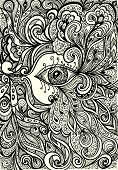 Abstract Background   with eye in  Zen doodle  or  Zen tangle  style black on white for coloring page or relax coloring book or wallpaper or for decorate package clothes poster