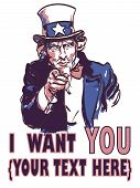 vector vintage patriotic poster with signature I want you and your text for your design. Eps 10. poster
