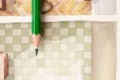 Glazed sharp pencil shot over bathroom tiling illustration with checkers pattern and watercolor splashy flooring texture that shows artistic approach in interior design poster