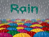 Rain Umbrellas Meaning Shower Rainfall And Downpour poster