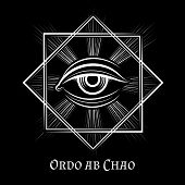Eye of Providence masonic symbol. All seeing eye illuminati spiritual vector sign poster