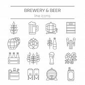 Big set of modern thin line icons of brewery icons and different beer symbols for pub bar or other brewing related business isolated on background. Vector illustration. Octoberfest icon series. poster