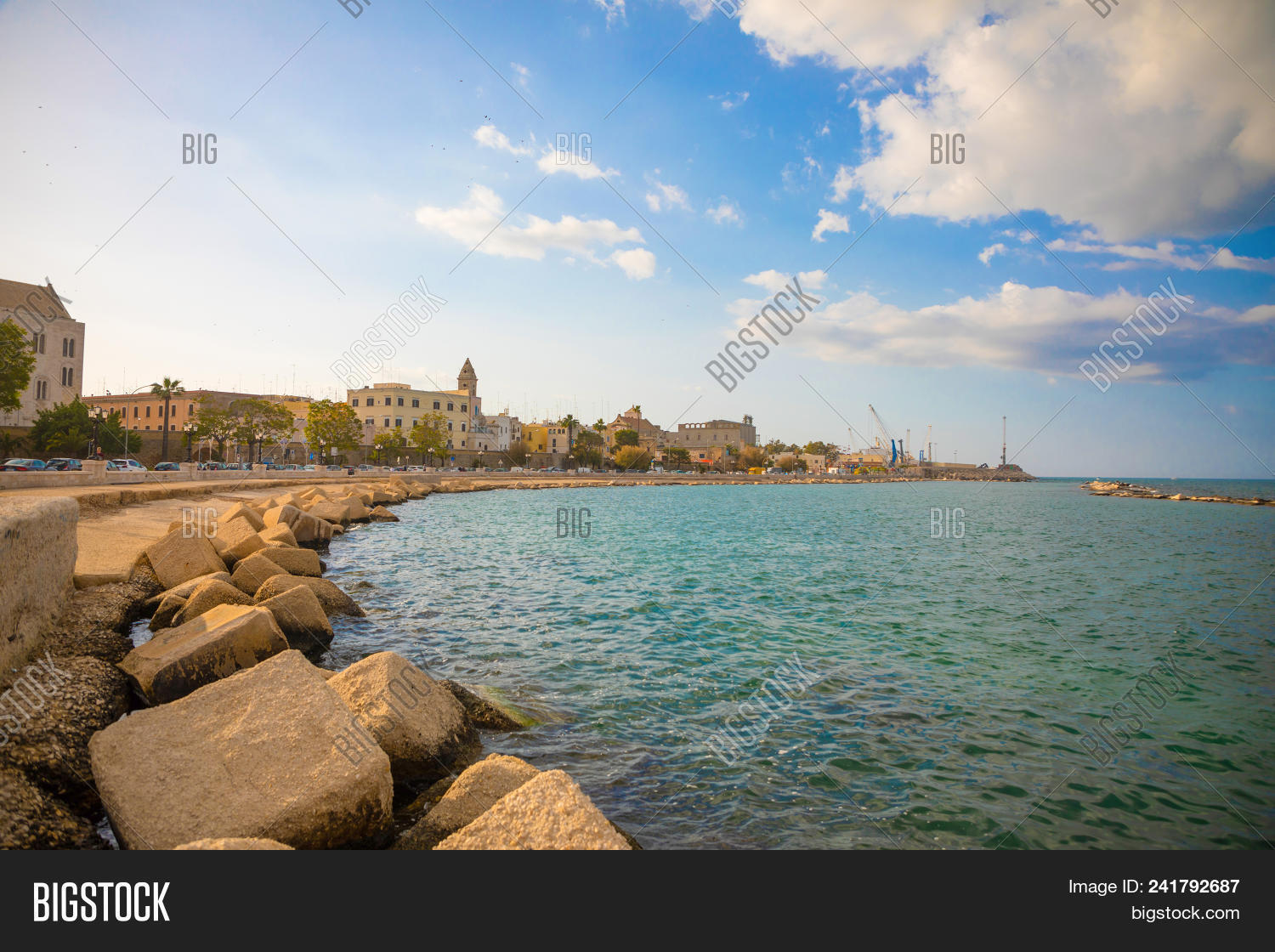Bari, Italy - 5.05.2018: Embankment Of Small South Town Bari At Sunset Time In Italy