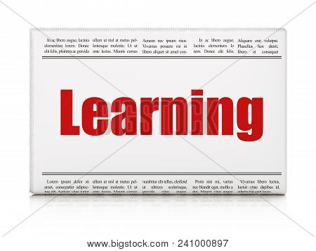 Learning Concept: Newspaper Headline Learning On White Background, 3d Rendering