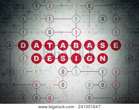 Programming Concept: Painted Red Text Database Design On Digital Data Paper Background With Binary C